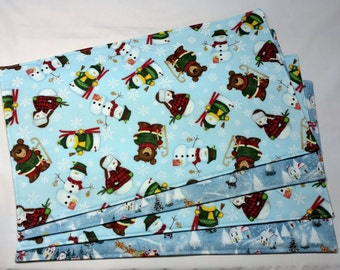 Christmas Placemats, Holiday Placemats, Reversible Placemats, Whimsical  Snowman Placemats , Christmas Table Decor, Holiday Decor, Placemats
