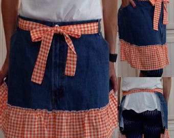 Denim half apron cotton orange gingham check ruffle cotton orange gingham ties long waist ties dark blue denim apron repurposed denim