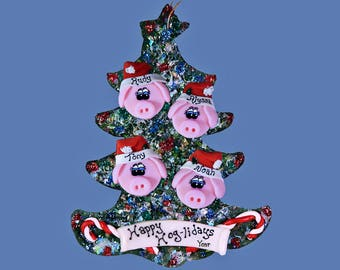 Pig (4) ornament Personalized Family tree