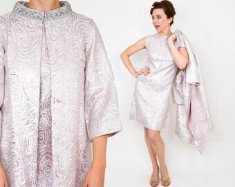60s Pink Brocade Dress Set | Pink Metallic Brocade Set | Extra Small
