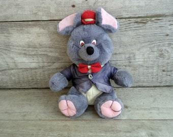 Vintage Plush Mouse Toy, Grey Mouse with Shirt Hat and Bow Tie, Seated Mouse, 90's Plush Stuffed Toy, Plush Mouse with red Hat and Bow Tie