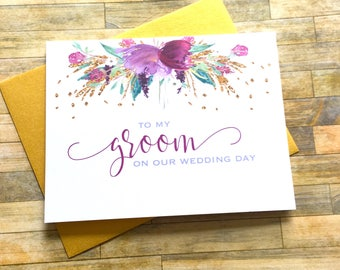 To my Groom on Our Wedding Day Card - Wedding Card from Bride for Groom - Husband Card - Newlywed Card - Wedding Day Card - FLORENCE