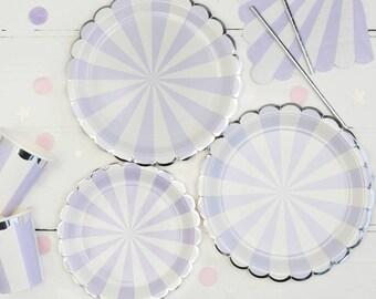 Lavender Striped Paper Plates Pastel Party Lilac Purple Disposable Tableware Tableware Set Hen Party Tea Party  sc 1 st  Etsy & Purple paper plates | Etsy
