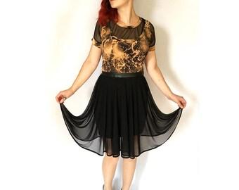 Sheer Layered Skirt, Full Gothic Skirt, Sheer Circle Skirt, Layered Black Skirt, Goth See Through Skirt, High Waist Skirt, Black Mesh Skirt