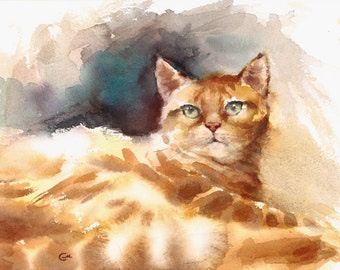 Tabby Cat - Original Watercolor Painting 8.5 x 12 inches Cats Pet Portrait Animals