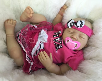 """Reborn baby doll girl Isla big newborn 22"""" size rooted eyelashes real realistic my fake baby childrens cheap doll UK painted hair sleeping"""