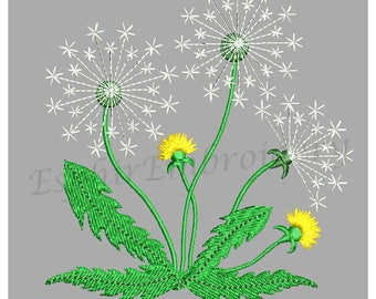 """Design embroidery dandelion This design is 4,21*4,46"""" (10,7*11,3cm) and has 4 colors. 11063 Stitches."""