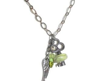 Vintage Key  Lampwork Bead Lampwork Key OOAK Key Necklace N48