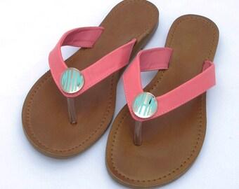 Size 5.5 Monogrammed Sandals Slip On - Coral - FAST Ship!