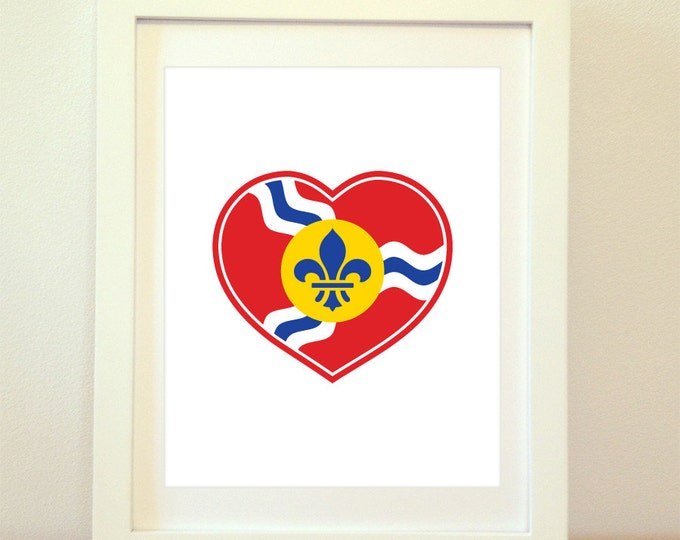 Featured listing image: STL Love, St Louis Heart Print, Saint Louis, St Louis, St Louis Flag, St Louis Poster, St Louis Art, St Louis Print, 6 Sizes