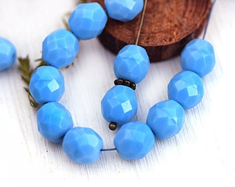 8mm Turquoise Blue Czech glass round beads, fire polished blue glass beads - 15Pc - 1928
