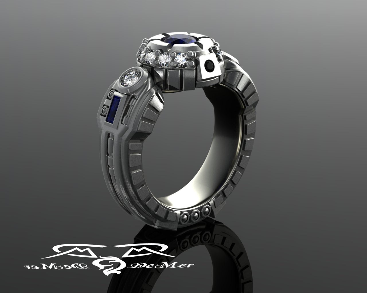 design band ring engagement put a custom sherrie men stella gray bands mark rings blue jpg s it black diamond champagne on wedding oval wg