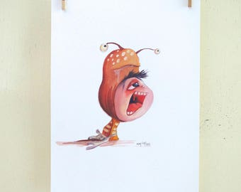"original illustration ""Hat 13"" (oil on paper painting)"