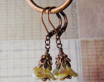 Copper Earrings Picasso Finish Flower Antique Copper Leverback Ear Wire Vintage Green