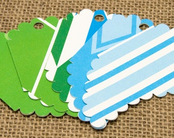Patterned Gift Tags, Blue Gift Tags, Green Gift Tags, Handmade Gift Tags, Baby Shower, Baby Gift, Papercraft, Birthday, Anniversary, Gift