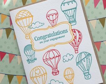 Balloon Engagement - letterpress card
