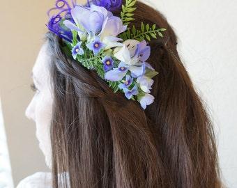 SHIP READY Lavender Purple Cornflower Blue Flower Floral Fern Feather Bridal Bride ANGELENE Comb Garden Spring Wedding Headpiece Hairpiece