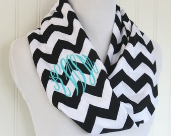 Monogrammed Charcoal Grey Chevron Scarf