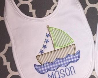 Personalized sailboat bib