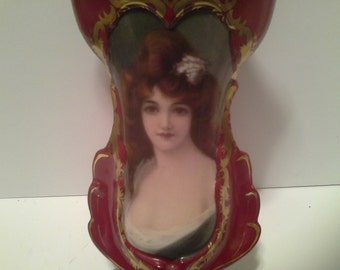 Reduced. Portrait, victorian on red vase