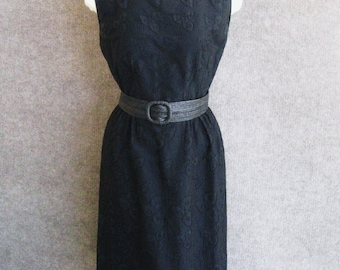 Vintage 50s Dress R&K Originals, Black Cotton Embroidered Sleeveless Sheath, Fitted Wiggle Pencil Skirt Dress,  Bust 34