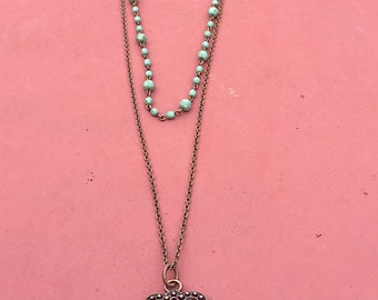 Multistrand necklace, Layared Brass Chain  and Pendant With a Turquoise Rosary Chain