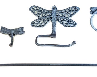 Cast Iron Dragonfly Bathroom Accessory Set with mounting hardware 4 pc