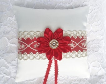 Ring pillow - Ring bearer pillow - Satin ring bearer pillow - Satin wedding pillow - Red flower wedding pillow - Christmas wedding