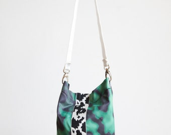 Fabric shoulder bag made of cloth Theatre-Green/Black