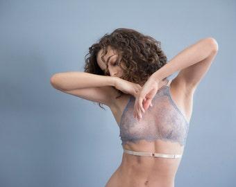 Kitri Gray Lace Bralette with Beige Trim