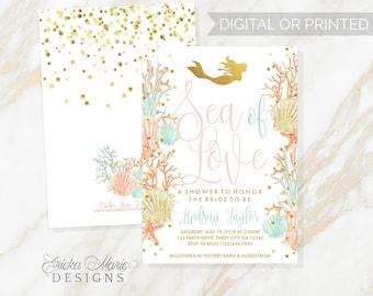 Bridal Shower Invitation | Mermaid Bridal Shower Invitation | Mermaid Bridal Shower Invite & Detail Card | Sea of Love Invitation |