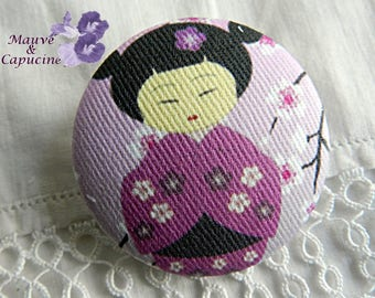 Button printed fabric Japanese doll violet, 1.25 in / 32 mm