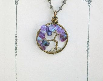 Purple Amethyst Tree of Life Pendent