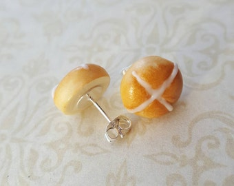 Novelty earrings, hot cross bun polymer clay bead with silver plated earrings, polymer clay food jewelry, quirky easter gift, novelty food
