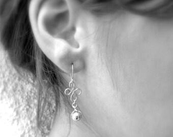 Small flower earrings, Gold dangle earrings, Gold and silver earrings, Everyday earrings, Dangle earrings