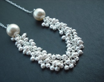pearl cluster necklace with swarovski pearl
