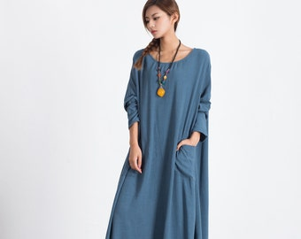 Women's linen maxi dress Oversize pullover Autumn Winter clothing plus size clothing Loose Kaftan large size dress Custom-made dress A86