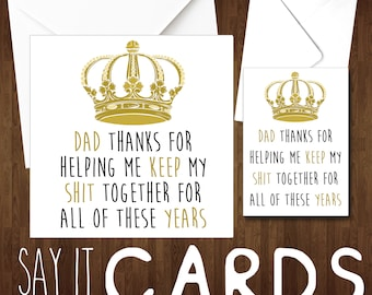 Dad joke card etsy dad card birthday christmas fathers day thans for helping me keep my shit together all years stopboris Choice Image