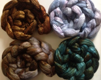 Hand Dyed gradient roving set 6ozs 19 micron merino and mulberry silk 70/30 ready to ship