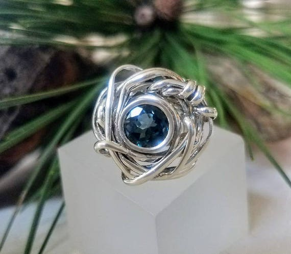 Faceted London Blue TopazArgentium Silver And Sterling Silver Ring Size 8  ER-0010