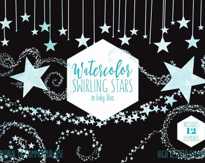 BABY BLUE WATERCOLOR Star Clipart Commercial Use Clip Art Swirling Star Trails Borders Frames Sky Cute Bunting for Baby Boy Digital Graphics