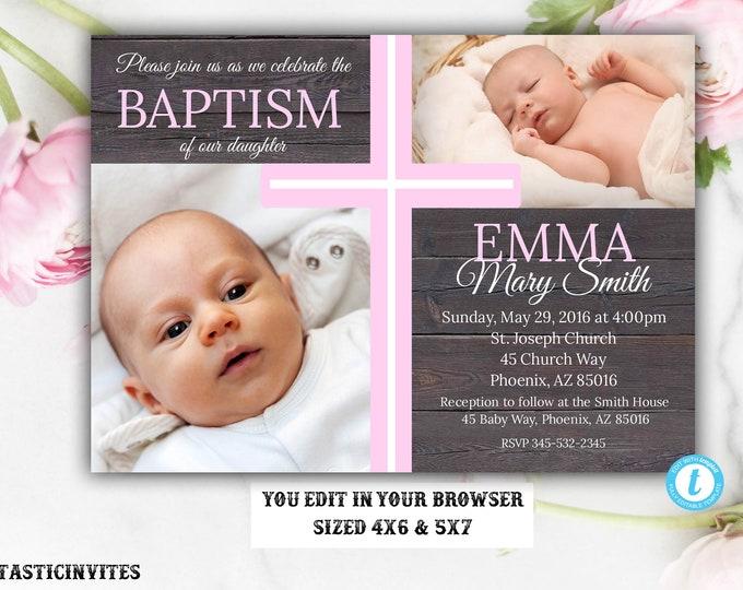 Rustic Baptism Invitation, Template, Baptism Invitation Printable, Girl Baptism Invitation, Rustic Template, Invite Girl, You Edit, Baptism