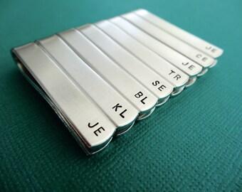 Set of 8 Personalized Tiebars - Initials - Custom Tie Clips - Groomsmen Tiebars