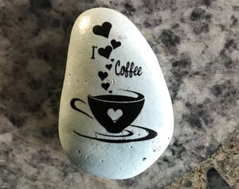 "Natural, Handmade Printed ""I Love Coffee"" Stone. Unique Stone Art Gift."