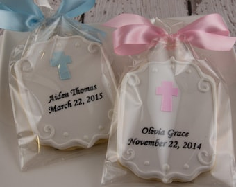 Personalized Plaque Cookies with Cross for Baptism, Communion - 12 Decorated Sugar Cookie Favors