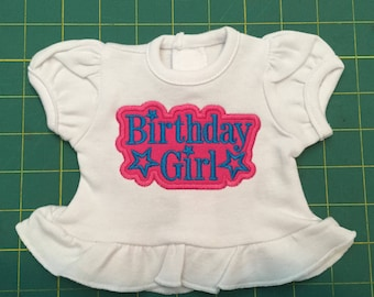 "American Girl Birthday Shirt 18"" Doll Shirt - Happy Birthday - Fits Bitty Baby"