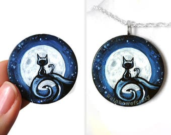 Black Cat Necklace, Full Moon Art Pendant, Pet Painting, Hand Painted Wood Jewelry, Pet Owner Memorial Gift for Her, Starry Night Sky
