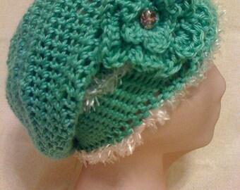 Crochet Green Cotton Slouch