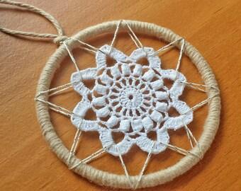 Crochet Ornament, 3 Inch Crochet Medallion, Dream Catcher Starter Hoop, Doily Dreamcatcher, Boho Wall Decor