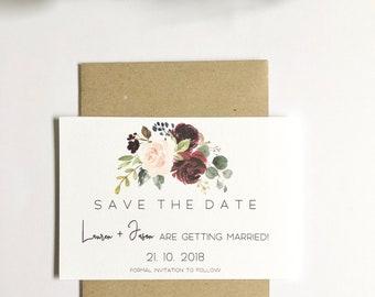 B U R G A N D Y  F L O R A L S | Save The Date Invitations | Printed Invitations | Getting Married | Weddings